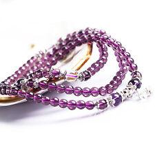 6mm Purple Rare Crystal Stone Buddhist Amethyst 108 Beads Mala Bracelet Necklace