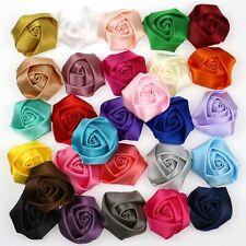 White Rose Flores De Cinta Raso Rosa 40mm hecho a mano Hazlo tú mismo Boda Ramo De Adorno