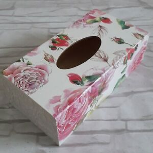 Rose Flowers Rectangular Long Tissue Box Cover Handcrafted wooden decoupaged