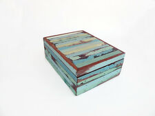 Decorative Wooden Storage Box, Turquoise Striped, 18 X 23 cm, Distressed Wood