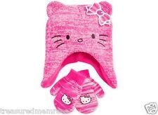 2 Piece Berkshire Fashions Hello Kitty Hat & Mitten Set ~ OSFM ~NWT