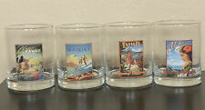 Tommy Bahama Double Old Fashioned Glasses Set Of 4 Vintage Hawaii Airline Poster