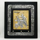 """Vintage Wall Hanging Wood Handicraft Thai Ramayana Engraved Metal Frame 11""""x 12"""""""
