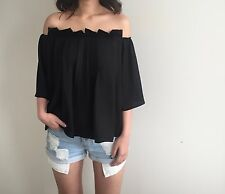 NEW Off Shoulder Forever Cameo Pleated Top BLACK AU10 US6 M