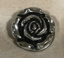 Brooch, Rose Detail Silver Tone Scarf Clip