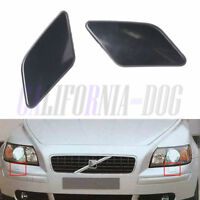 x2 Primed Front Left Right Headlight Washer Cover Cap For VOLVO S40 V50 2008-12