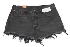 "Levi's 323170050 Womens 501 Button Fly Casual Denim Shorts Black Sz 30"" NWT"