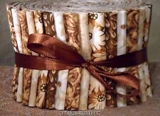 """Jelly Roll Strips Quilting Fabric 20~2.5""""Brown Cream White Off White Cotton"""