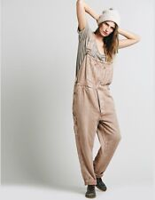 Free People Mes Demoiselles Ryker Washed Overall Large Brown Gold Rare $360.00
