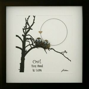 Personalised Owl Gift Pebble Art Picture Love Friendship By Your Side
