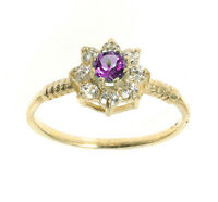 Gold Tanzanite Ring Yellow Gold Engagement Cluster Ladies Dress Ring size F - V