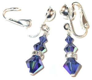 SWAROVSKI CRYSTAL ELEMENTS Sterling Silver Dangle Earrings DARK SAPPHIRE Blue
