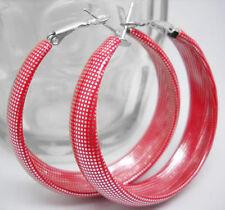 E1002 elegant lady's fashion red grid hoop earrings jewelry