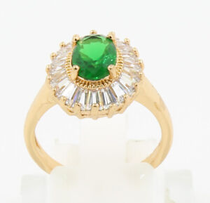 New Pretty Jewellery Natural 2.06ct Emerald 14k Solid Yellow Gold Ring Size 6