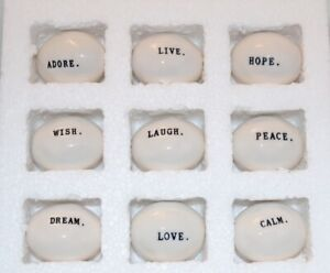 Rae Dunn Boutique Word Stones Wish Dream Laugh Love Live Calm Hope Peace Adore