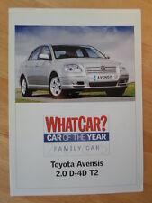 TOYOTA AVENSIS 2.0 D-4D T2 orig 2005 UK Mkt Road Test Brochure