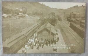 1912 Postcard RPPC REAL PHOTO Railroad Depot Train Picnic Whitewood South Dakota
