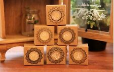 6tlg Stempel set  holz stempelset  ornamente dekorative rund neu Flower blumen