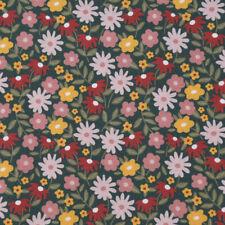 Baumwollstoff GOTS Bio Popeline Blumen abstrakt petrolgrün rosa 1,50m Breite