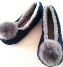 Slippers ladies size 7-8 EUR 38-39.5 new fabric upper man made materials pom pom