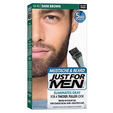 Just For Men MUSTACHE & BEARD FACIAL HAIR COLOR GEL DARK BROWN M-45 BRUSH-IN