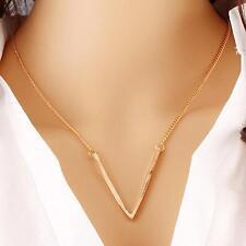 Fasion Gold Tone Women V Shape Pendant Collar Choker Bib Necklace 27.1Inch