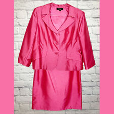 Tahari Arthur Levine Luxe Skirt Suit Strawberry Pink Polyester Lined Size 16/18