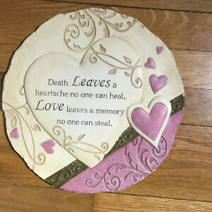 """Loved Ones Memory plaque - 11"""" across - beige and lilac hearts"""