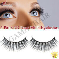 5 Pairs 3D Mink Bushy Cross False Eyelashes Long Hair Eye Lashes Black Natural