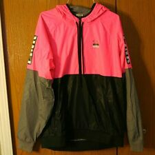 Victoria's Secret PINK Fleece Lined Anorak Jacket Windbreaker M/L Hot Pink Black