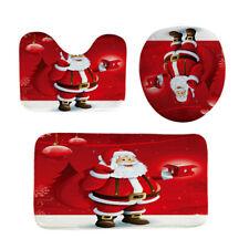 Christmas Toilet Seat Cover Set Santa Claus Bath Rug Towel Mat Xmas Decorations