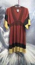 Burgundy Beige Black Colour Block Knit Dress Tunic Size S 8 10