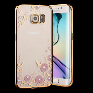 Samsung Galaxy S8 Plus Note 10 9 Diamond Flower Rose Soft Clear Case Cover