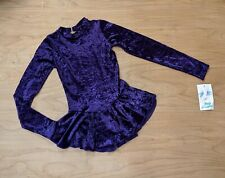 Body Wrappers Purple Crushed Velvet Mock Neck Long Sleeve Ice Skate Dress