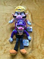 """Super Mario Plush Teddy - Wario & Waluigi Soft Toys Pair - Size 9"""" & 11"""" NEW"""