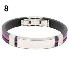 Men's Women's New Stainless Steel Rubber Wristband Bangle Clasp Cuff Bracelet