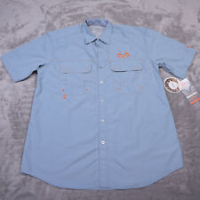 REALTREE ACTIVE Mens SS SHIRT Vented Back Blue Steel Size Large NWT NEW