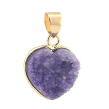 Heart Style Druzy Drusy Agate Geode Yellow Gold Plated Necklace Pendants Purple
