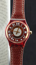 Swatch Uhr MusiCall SLF100 Brown Piano Collection 1994 neu Box MIB - Lederband