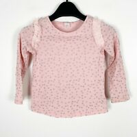 Baby Gap Toddler Girls Pink Silver Glitter Stars Long Sleeve Shirt Size 5T