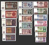 ** 5,10,20,50,100,200,500 DDR Mark Banknoten 1955,64,71 Alte Währung 3 Sätze **