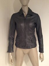 Vince Leather Zip Front Womens Jacket Small Metallic Silver Gunmetal Gray Fitted