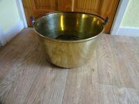 Large Vintage Brass Jam Pan Steel Handle - Diameter 33 cm Height 19 cm - 6 kg