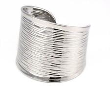 Silver Modern Textured Cuff Bracelet