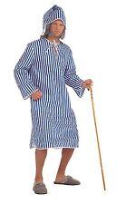 Hombre Scrooge Disfraz Azul Blanco De Rayas Nighshirt Disfraz Cuento De Navidad
