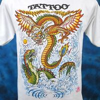 NOS vintage 80s DRAGON FIGHT CARTOON TATTOO T-Shirt SMALL chinese biker thin