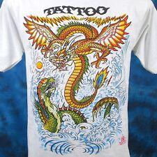 NOS vintage 80s DRAGON FIGHT CARTOON TATTOO T-Shirt SMALL chinese biker thin