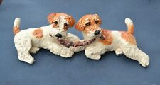 Russell terrier. 2 dogs playing !Handsculpted ceramic ! Ooak .Look!