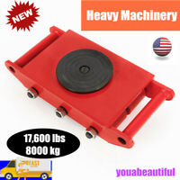 8T 17600lbs Heavy Duty Machine Dolly Skate Roller Machinery Mover 360° Cap Red