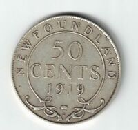 NEWFOUNDLAND 1919C 50 CENTS KING GEORGE V CANADIAN STERLING SILVER COIN